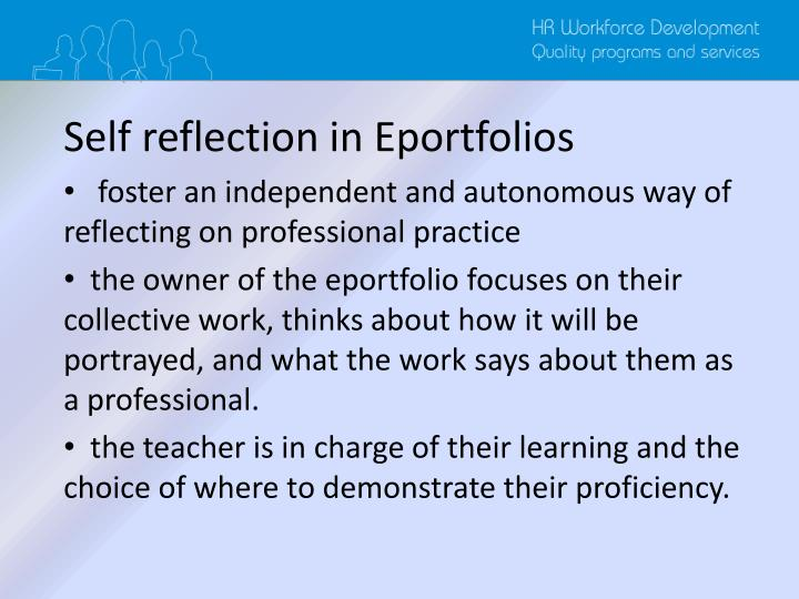 Self reflection in Eportfolios
