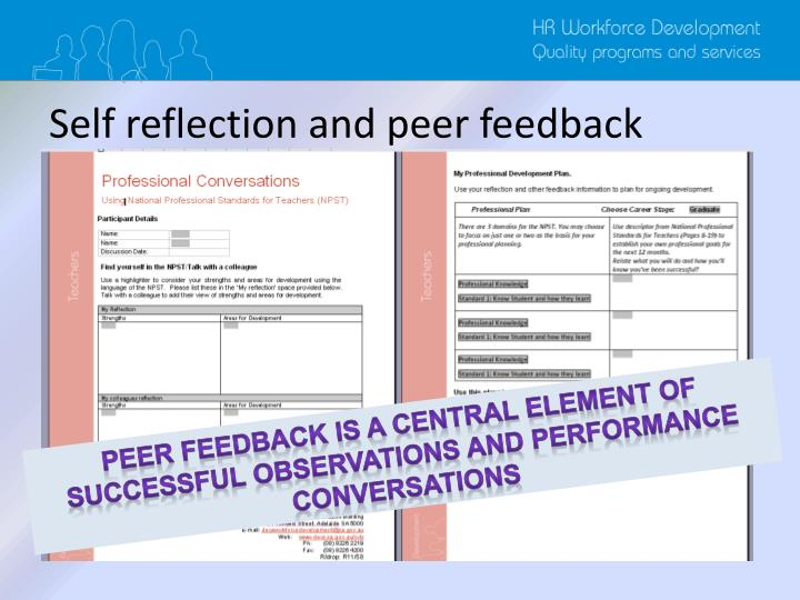 Self reflection and peer feedback