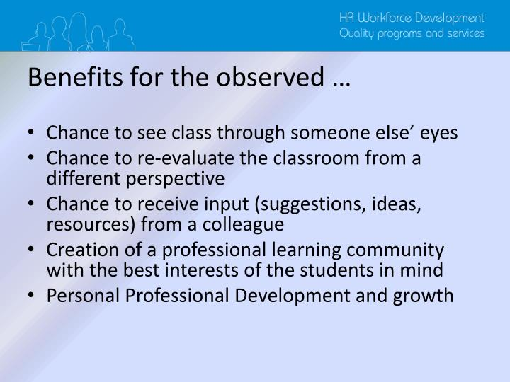 Benefits for the observed …