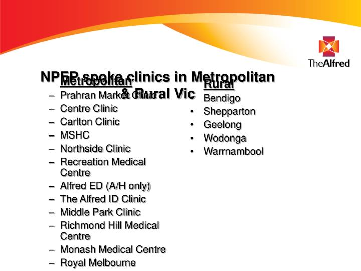 NPEP spoke clinics in Metropolitan & Rural Vic