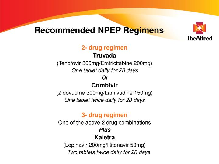 Recommended NPEP Regimens