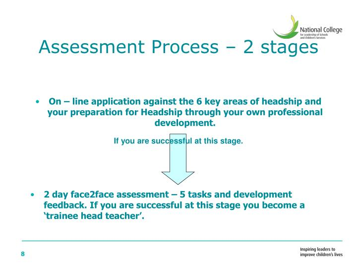 Assessment Process – 2 stages