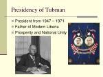 presidency of tubman