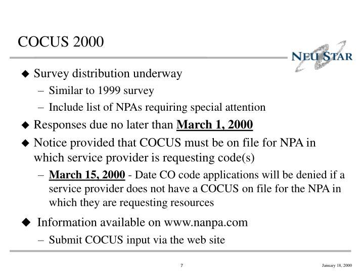 COCUS 2000