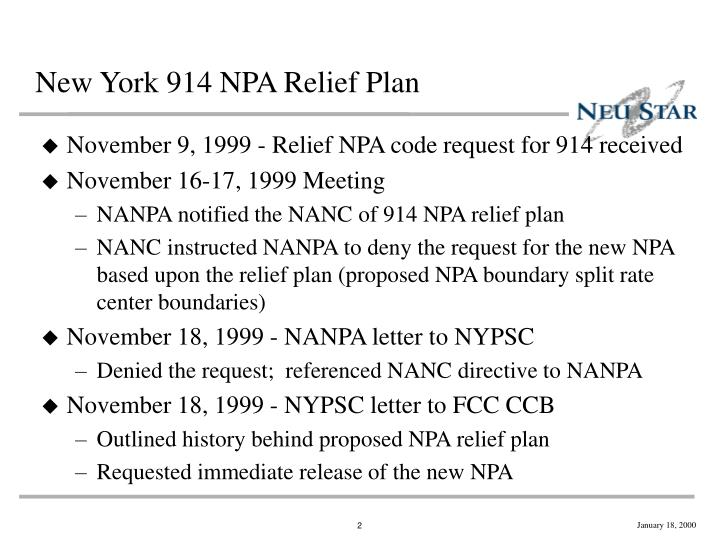 New york 914 npa relief plan