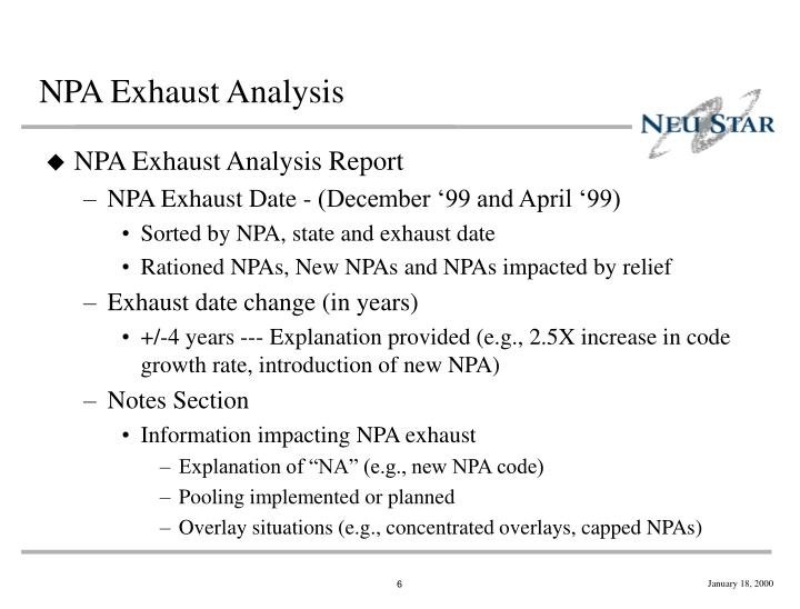 NPA Exhaust Analysis