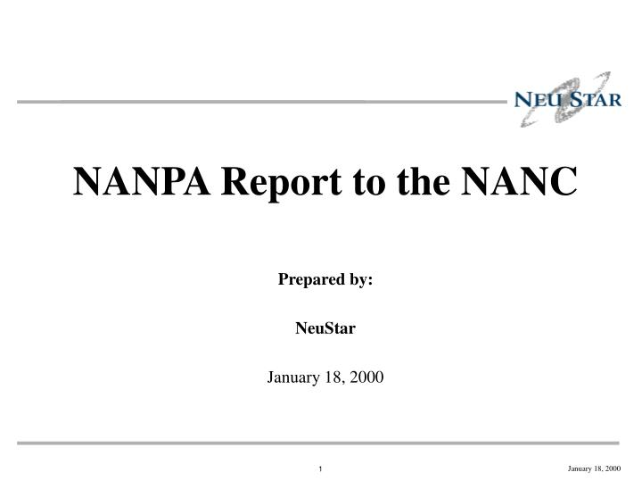 NANPA Report to the NANC