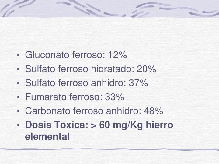 Gluconato ferroso: 12%