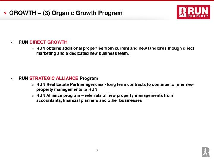 GROWTH – (3) Organic Growth Program