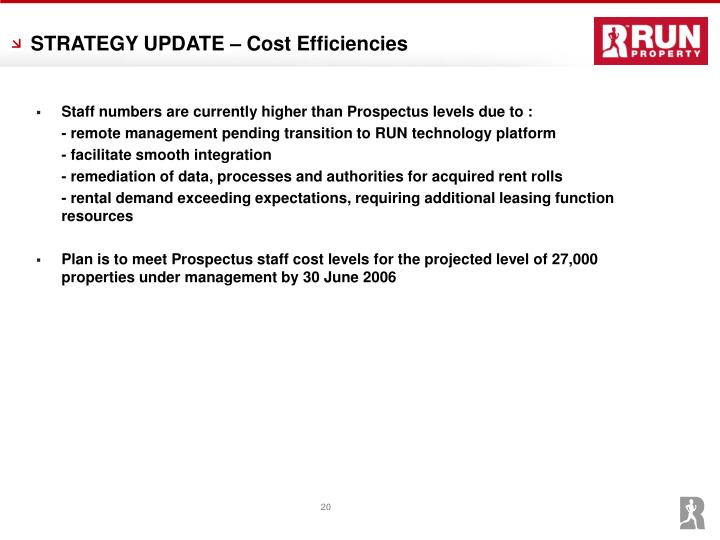 STRATEGY UPDATE – Cost Efficiencies