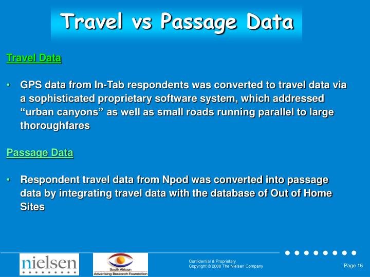 Travel vs Passage Data