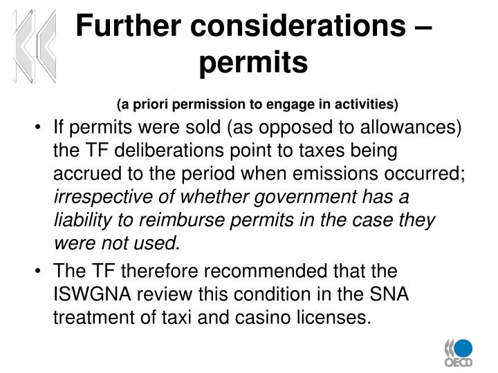 Further considerations – permits