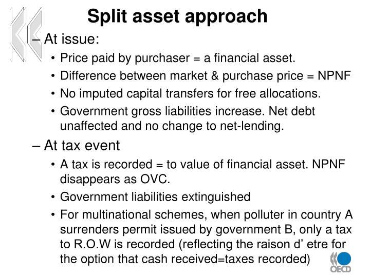 Split asset approach