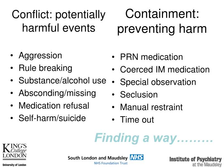 Conflict: potentially harmful events