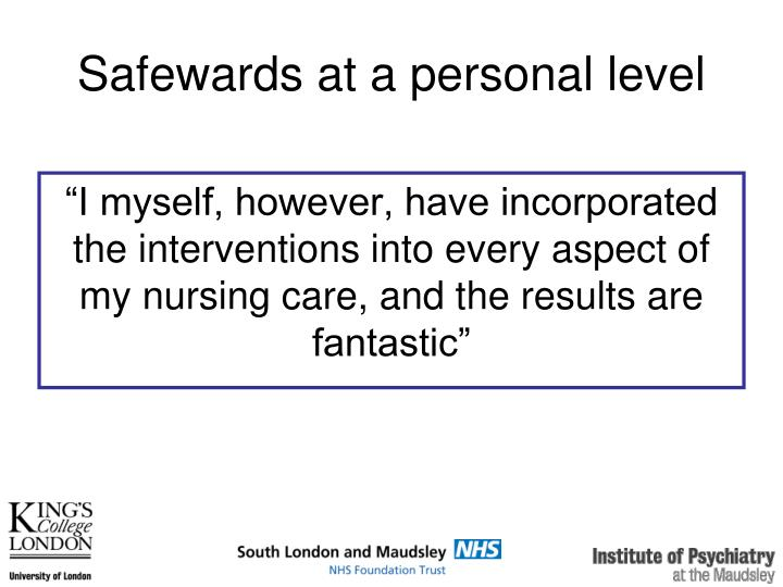 Safewards at a personal level