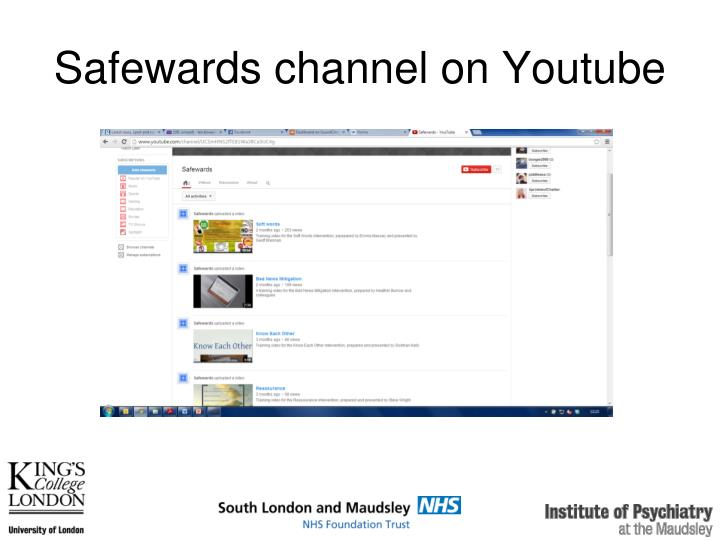 Safewards channel on Youtube