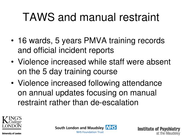 TAWS and manual restraint