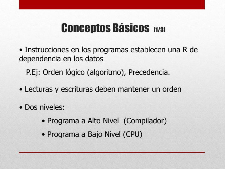 Instrucciones en los programas establecen una R de dependencia en los datos