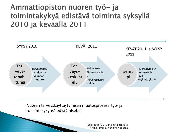 Ammattiopiston nuoren työ- ja toimintakykyä edistävä toiminta syksyllä 2010 ja keväällä 2011