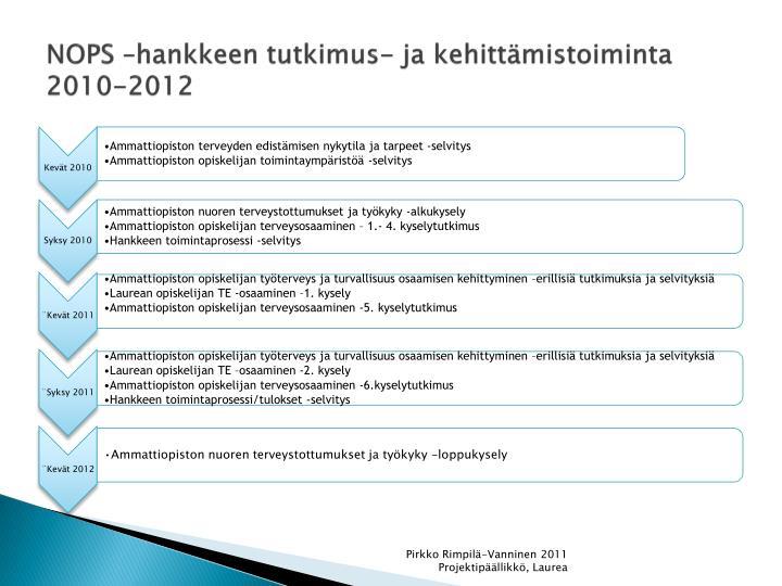 NOPS –hankkeen tutkimus- ja kehittämistoiminta 2010-2012