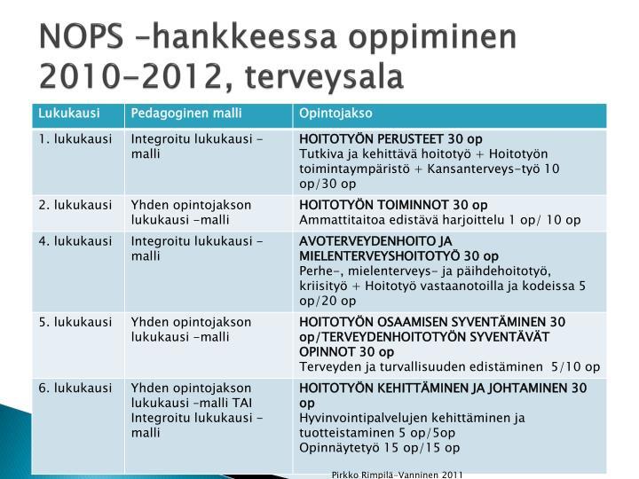 NOPS –hankkeessa oppiminen 2010-2012, terveysala