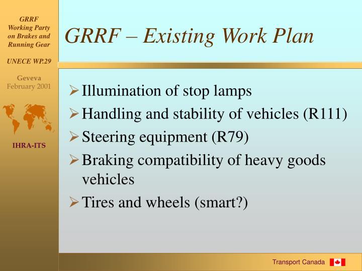 GRRF – Existing Work Plan