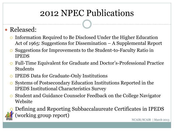 2012 NPEC Publications