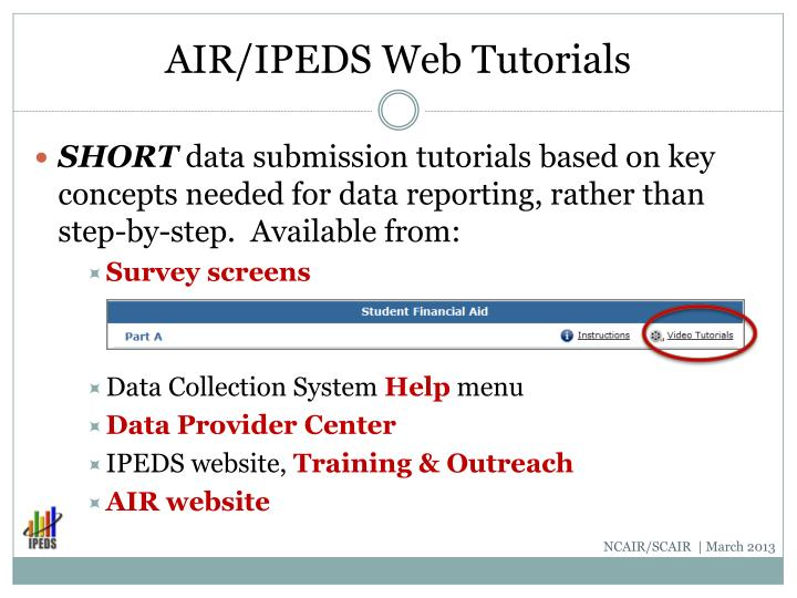 AIR/IPEDS Web Tutorials