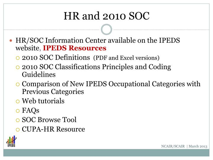 HR and 2010 SOC