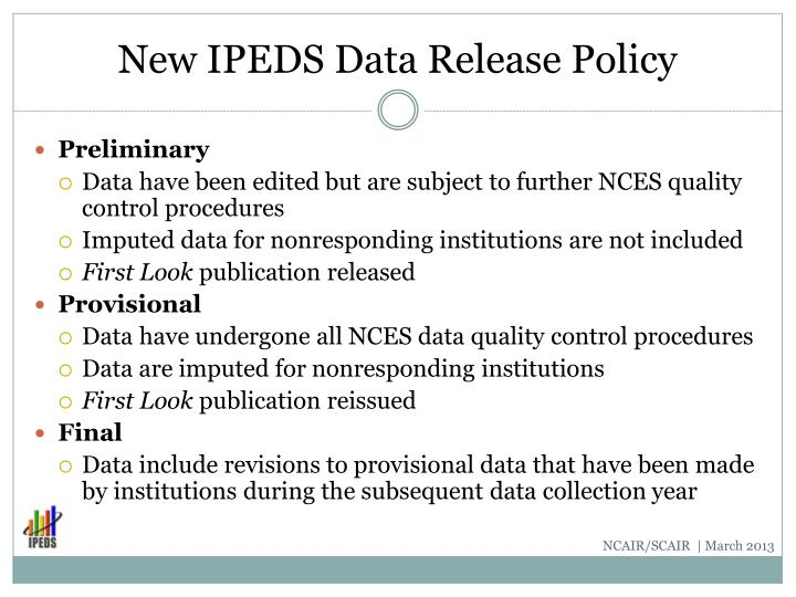 New IPEDS Data Release Policy