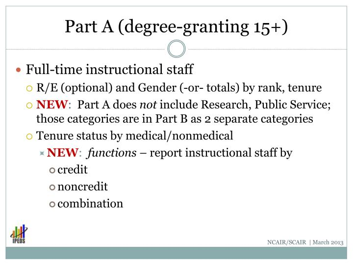 Part A (degree-granting 15+)