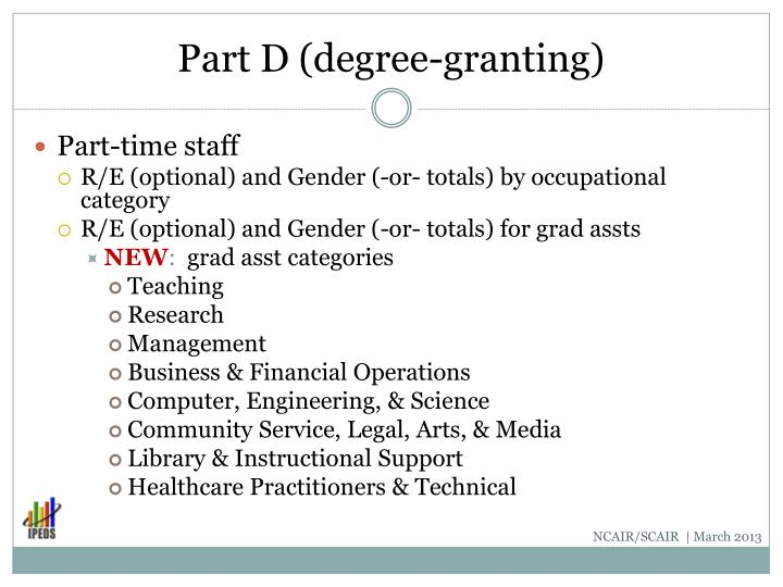 Part D (degree-granting)