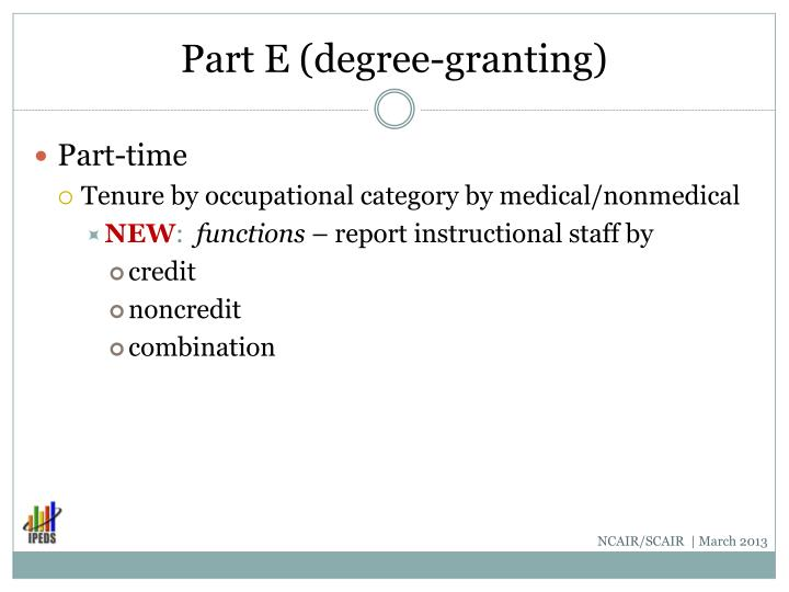 Part E (degree-granting)