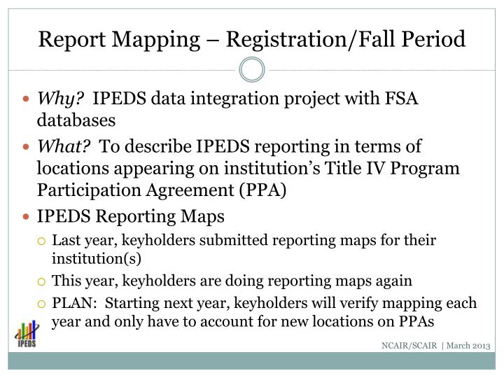 Report Mapping – Registration/Fall Period