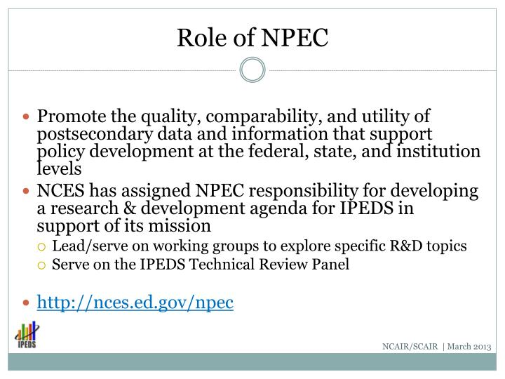 Role of NPEC