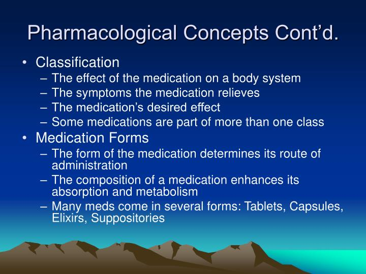 Pharmacological Concepts Cont'd.