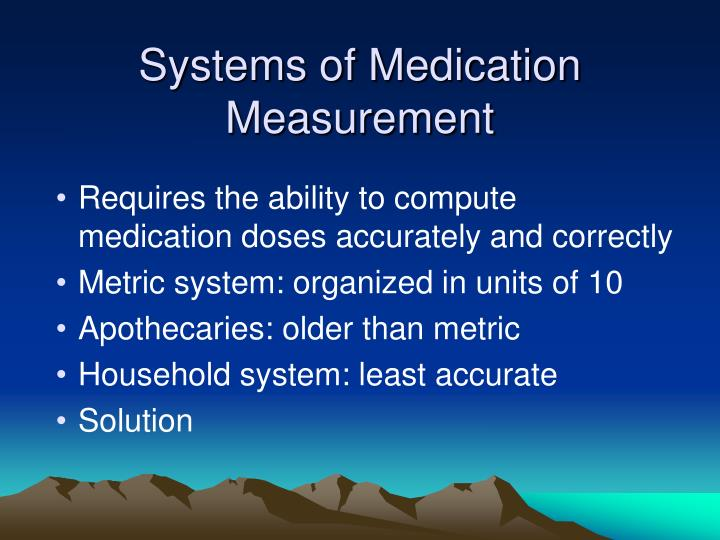 Systems of Medication Measurement