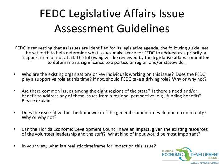 FEDC Legislative Affairs Issue Assessment Guidelines