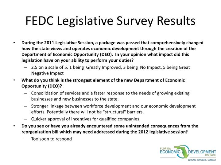 FEDC Legislative Survey Results