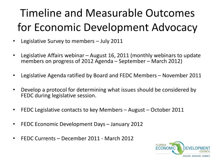 Timeline and Measurable Outcomes for Economic Development Advocacy