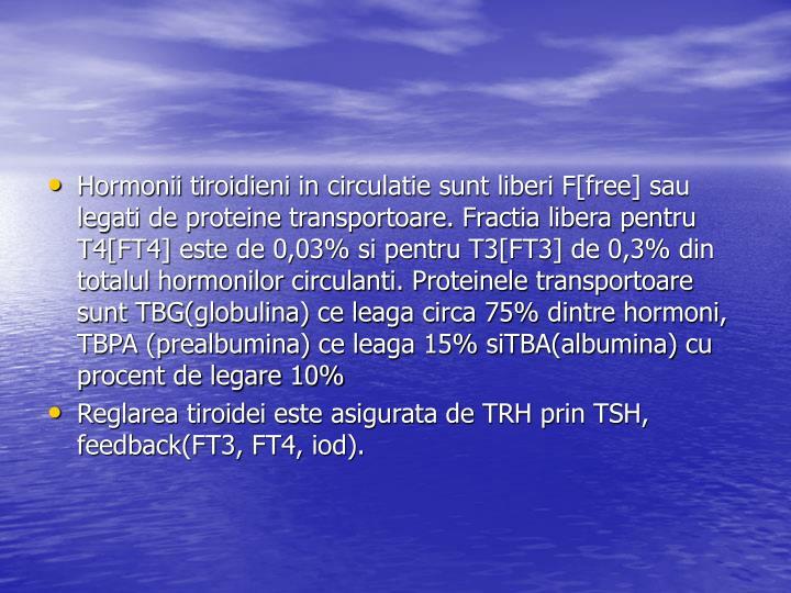 Hormonii tiroidieni in circulatie sunt liberi F[free] sau legati de proteine transportoare. Fractia libera pentru T4[FT4] este de 0,03% si pentru T3[FT3] de 0,3% din totalul hormonilor circulanti. Proteinele transportoare sunt TBG(globulina) ce leaga circa 75% dintre hormoni, TBPA (prealbumina) ce leaga 15% siTBA(albumina) cu procent de legare 10%
