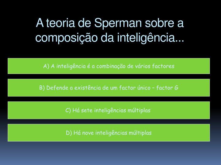 A teoria de Sperman sobre a composição da inteligência...