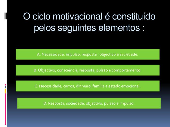 O ciclo motivacional é constituído pelos seguintes elementos :