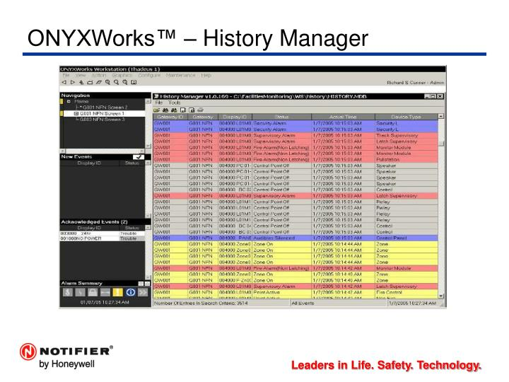 ONYXWorks™ – History Manager