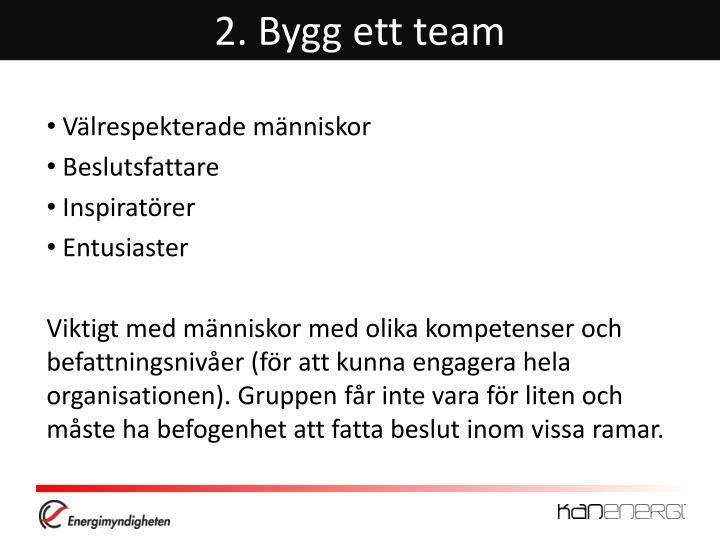 2. Bygg ett team