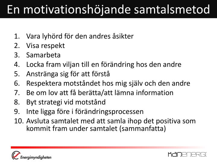 En motivationshöjande samtalsmetod