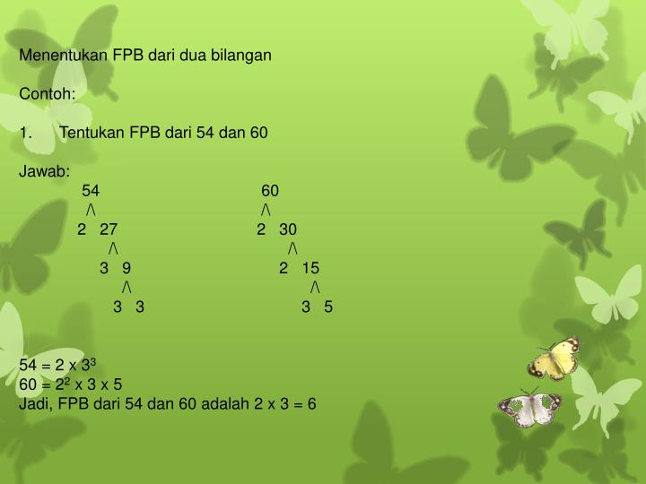 Menentukan FPB dari dua bilangan