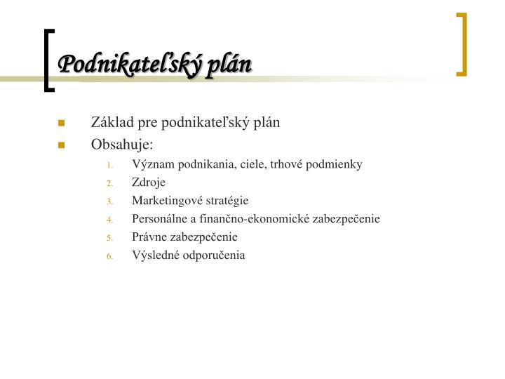 Podnikateľský plán