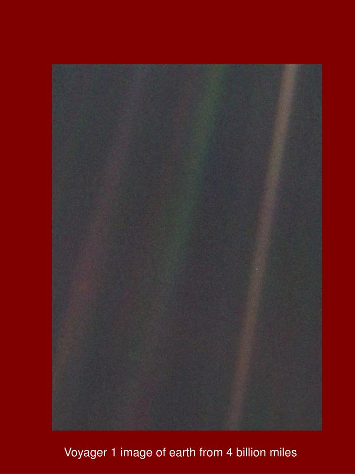Voyager 1 image of earth from 4 billion miles