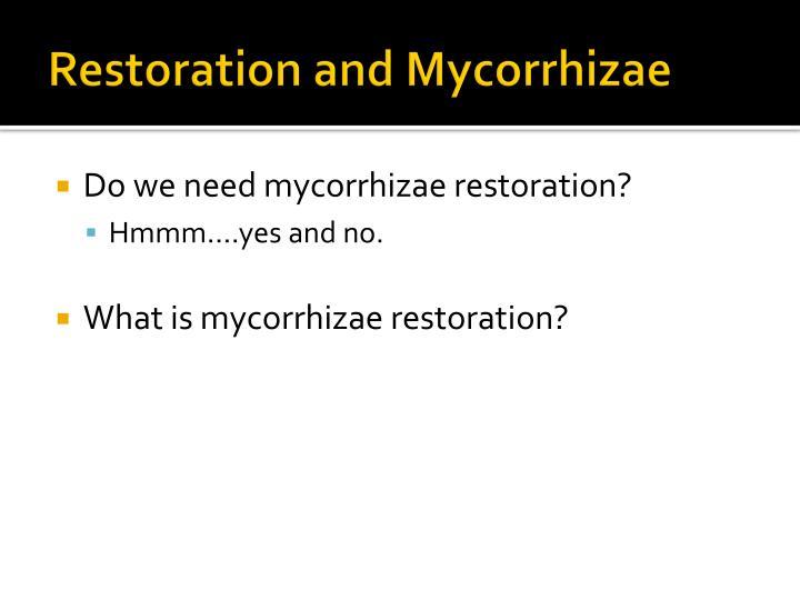 Restoration and Mycorrhizae